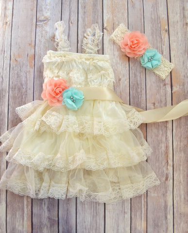 Coral Mint Ivory Lace Flower Girl Dress Headband - maidenlaneboutique
