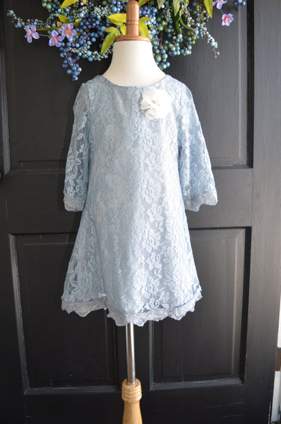 Dove Gray Lace Flower Girl Dress - maidenlaneboutique