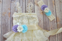 Lilac Aqua Ivory Lace Dress - maidenlaneboutique