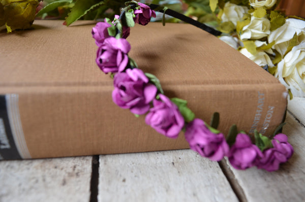 Orchid Purple Rose Floral Crown, Purple Flower Headband, Flower Crown, Wedding Headpiece, Bridesmaid headpiece, flower girl headband - maidenlaneboutique