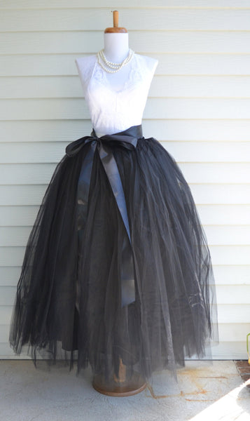 Long Floor Length Tutu Black Tulle skirt - maidenlaneboutique