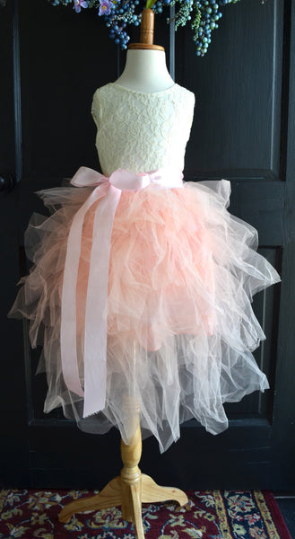 Blush Pink Ruffled Tutu dress skirt top set - maidenlaneboutique