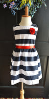 Nautical Stripe dress, Navy Red dress, Navy blue stripe dress, Nautical girls dress, Nautical Wedding dress, party dress, 4th of July - maidenlaneboutique
