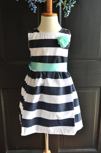 Nautical Stripe dress, Navy Mint dress, Navy blue stripe dress, Nautical girls dress, Nautical Wedding dress, party dress, flower girl - maidenlaneboutique