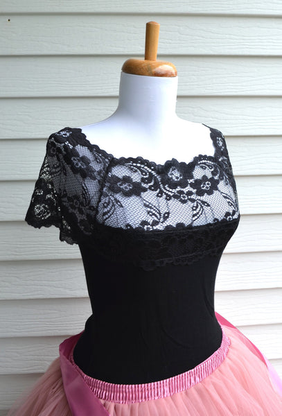 Black Lace French Style Blouse - maidenlaneboutique