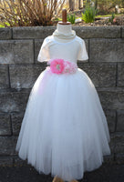 flower girl white tulle skirt