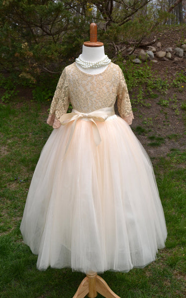 Ivory Flower girl Tutu dress - maidenlaneboutique