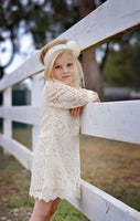 cream lace flower girl dress