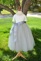 flower girl gray tulle skirt