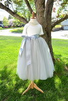 Girls Gray Long Tulle Skirt Tutu - maidenlaneboutique