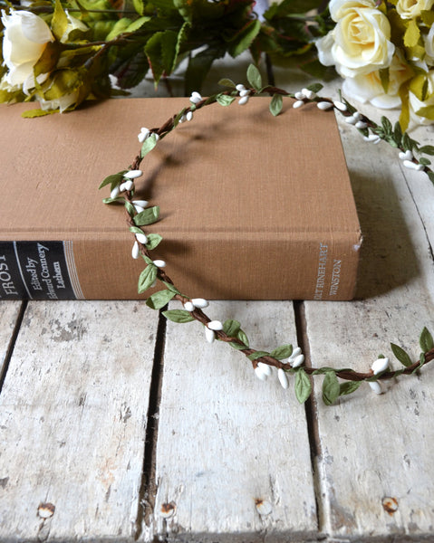 White Flower Floral Crown,White Flower Headband, Flower Crown, Wedding Headpiece, Bridesmaid headpiece, flower girl headband - maidenlaneboutique