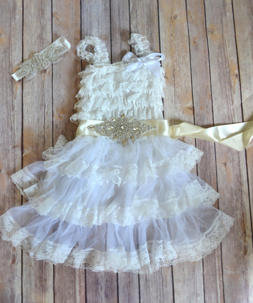White Lace Dress Headband set, Beach Wedding dress, Flower Girl Dress,  Rhinestone headband sash, Luxe flower girl dress, petti dress - maidenlaneboutique