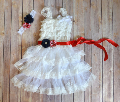 Patriotic Vintage White Lace Dress - maidenlaneboutique