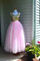 floor length pink tulle skirt