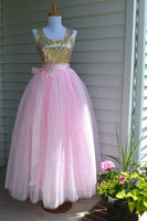 long pink tulle skirt