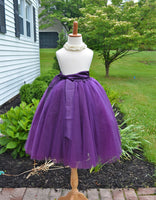 Purple Tutu Tulle skirt with sash - maidenlaneboutique
