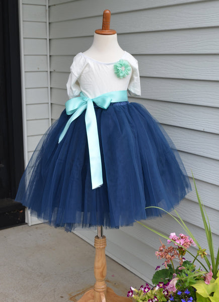 Navy Blue Long Tulle Skirt Tutu - maidenlaneboutique
