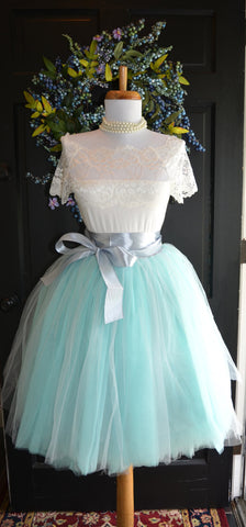 Aqua Gray Tulle skirt Tutu 2 tone - maidenlaneboutique