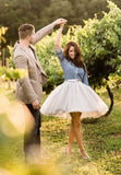 silver gray tulle skirt