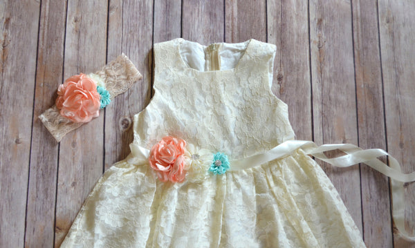 Coral Mint Ivory Lace Flower Girl Dress - maidenlaneboutique