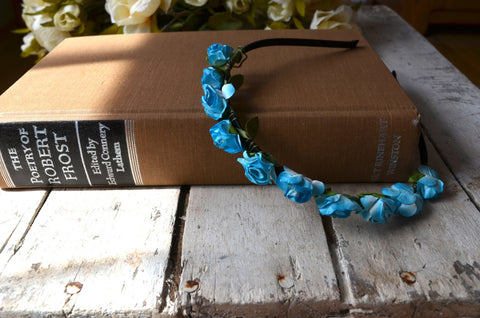 Periwinkle Blue Rose Floral Crown, Blue Flower Headband, Flower Crown, Wedding Headpiece, Bridesmaid headpiece, flower girl headband - maidenlaneboutique