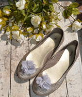 Silver gray Flower shoe clips - maidenlaneboutique