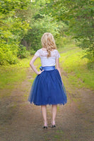 dark blue tulle skirt