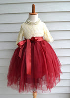 Girls Cranberry Maroon Tulle Skirt - maidenlaneboutique