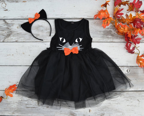 Black Cat Tutu Dress Halloween Costume Kitty Ears - maidenlaneboutique