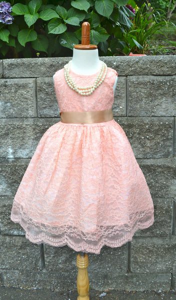 Blush Pink Coral Lace Sleeveless Dress - maidenlaneboutique