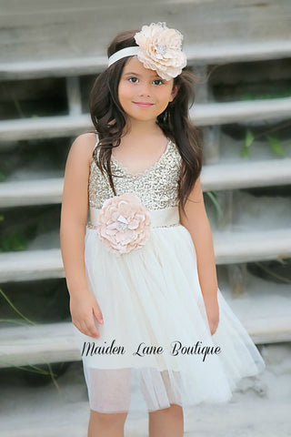 Gold Sequins Ivory Tulle Flower Girl Dress - maidenlaneboutique