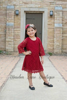 Red Lace Dress with headband - maidenlaneboutique