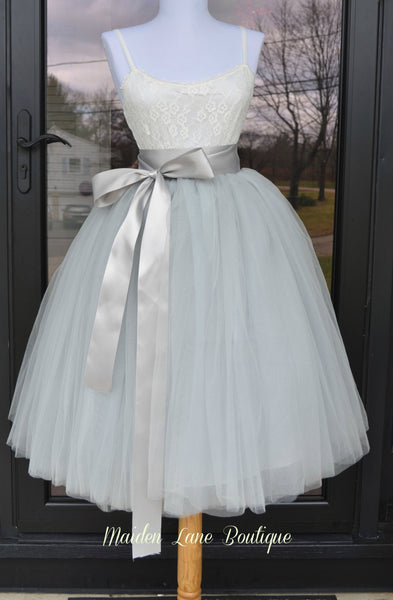 Gray Tutu midi tulle skirt - maidenlaneboutique