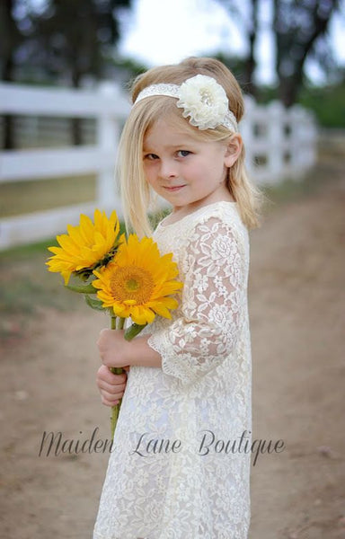 Ivory Lace Flower Girl Dress - maidenlaneboutique