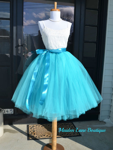 Teal Tulle skirt Turquoise tutu - maidenlaneboutique