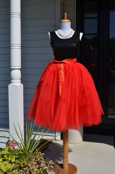Womens  Red Tutu Tulle skirt - maidenlaneboutique