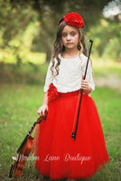 red flower girl tutu dress