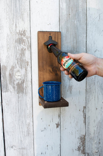 Bottle Opener with Cap catcher Mug Rustic Man Cave Groomsman - maidenlaneboutique