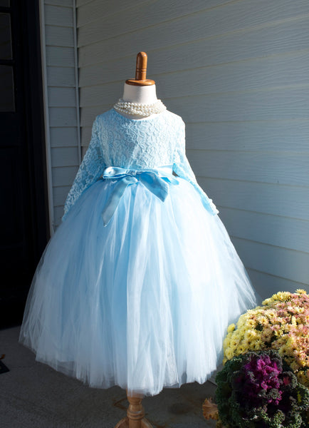 Pastel  Blue Long Tulle Skirt with blouse - maidenlaneboutique