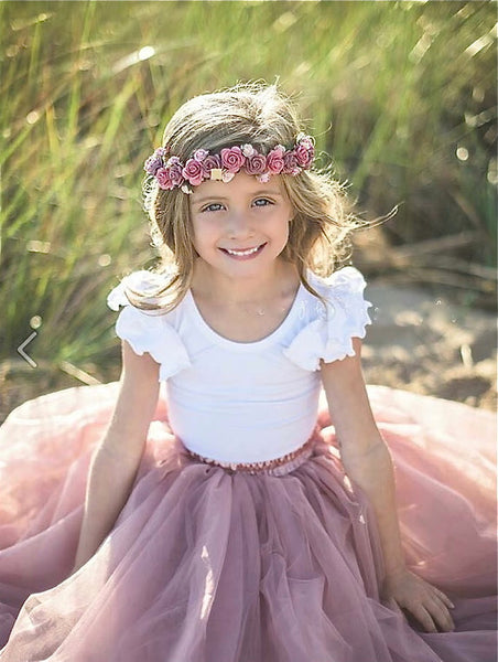 Girls Dusty Rose Tutu Rose Pink Tulle skirt - maidenlaneboutique
