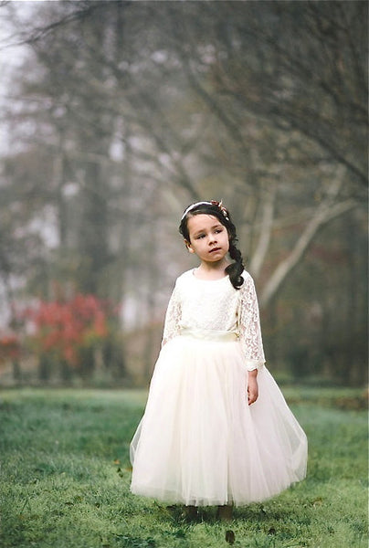 Flower girl Ivory Tulle skirt with sash - maidenlaneboutique
