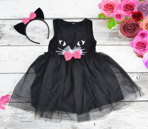 Black Cat Tutu Dress Halloween Costume with Ears - maidenlaneboutique