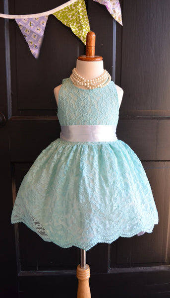 aqua lace flower girl dress