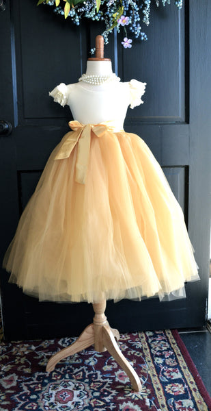 Tan Gold Tulle Skirt with sash - maidenlaneboutique