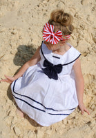 Nautical Sailor dress, white navy blue dress, Navy sailor dress, Nautical girls dress, Nautical Wedding dress, party dress - maidenlaneboutique