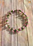 Pink Floral Crown Flower Headband - maidenlaneboutique