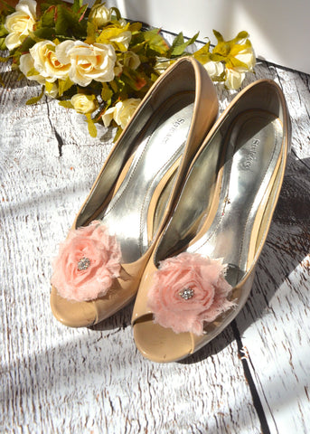 Blush Pink Flower shoe clips - maidenlaneboutique