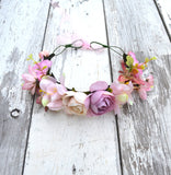 Pink Rose Floral Crown, Pink Flower Headband, Flower Crown, Wedding Headpiece, Bridesmaid headpiece, flower girl headband halo - maidenlaneboutique