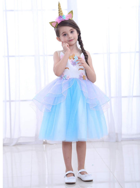 Girls Unicorn Costume Dress Deluxe blue - maidenlaneboutique
