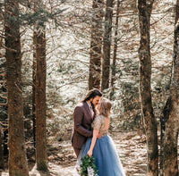 dusty blue tulle skirt